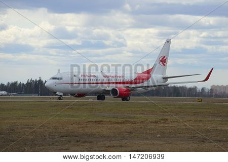 MOSCOW, RUSSIA - APRIL 15, 2015: The Boeing 737-800 (7T-VKA) Air Algerie on the taxiway of the airport Sheremetyevo