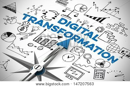 Digital Business Transformation concept with arrow of compass (3D Rendering)