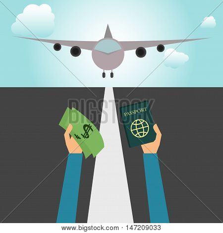 Hands holding money and passport on an airfield with airplane.