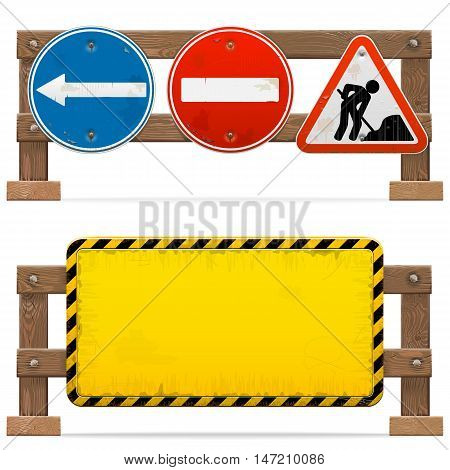 Vector Barriers with Road Signs isolated on white background