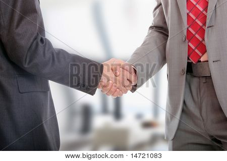 handshake isolated on light office environement