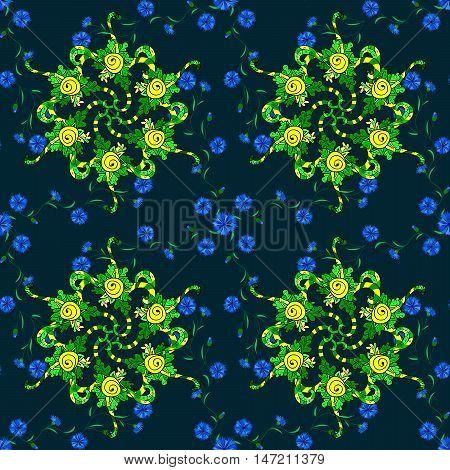 Raster boho chic flower seamless pattern. Mandala design element. Unusual flourish ornament. Blue green yellow lilac. Raster illustaration.