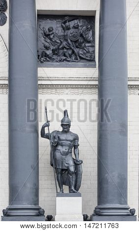 Moscow, Russia -September 04, 2016: Triumphal Arch. First built in the years 1829-34 by the architect O. Bove in honor of the Russian people's victory in the Patriotic War of 1812. Dismantled in 1936. A copy of the gate was built in 1966-68.