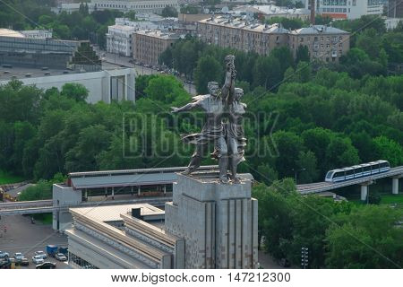 MOSCOW - MAY 29, 2016: Worker and Collective Farm monument was built in 1937 by Vera Mukhina