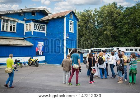 RUSSIA, MOSCOW - 06 AUG, 2015: Policemen is giving interview to many bloggers in Sokolniki.
