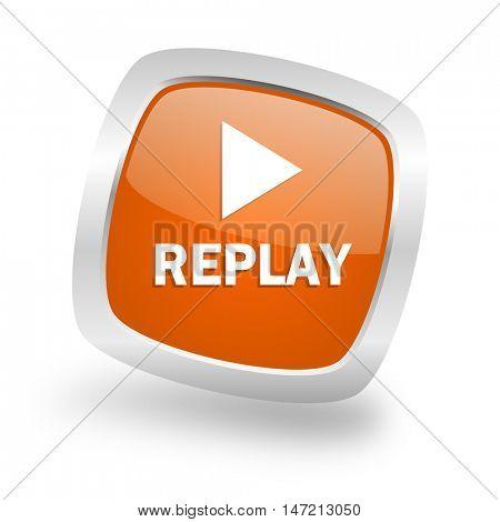 replay square glossy orange chrome silver metallic web icon