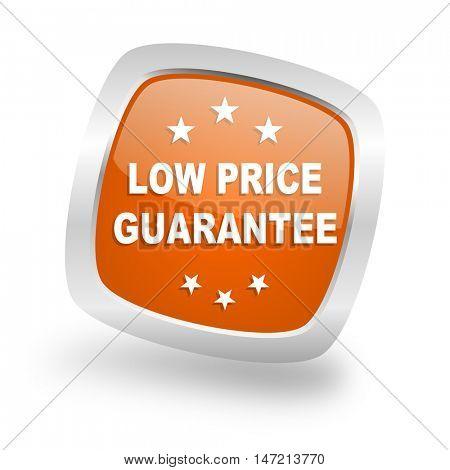 low price guarantee square glossy orange chrome silver metallic web icon