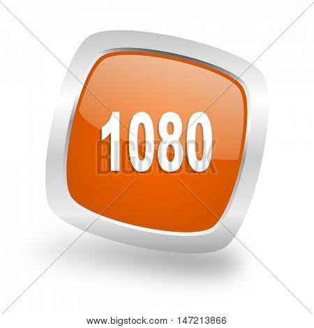 1080 square glossy orange chrome silver metallic web icon