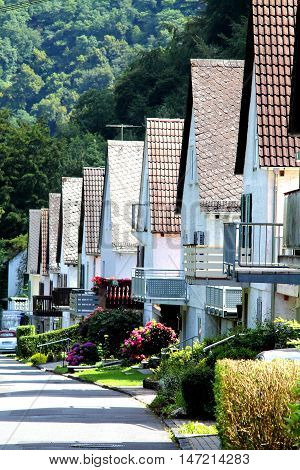 Row of traditional contiguous houses in german town.