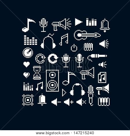 Vector pixel icons isolated collection of 8bit music graphic elements. Simplistic digital signs created in music and media theme.