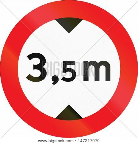 Road Sign Used In Denmark - No Vehicles Having An Overall Height Exceeding 3.5 Meters
