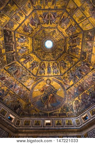 Magnificent mosaic ceiling of the Baptistry of San Giovanni Florence Tuscany Italy