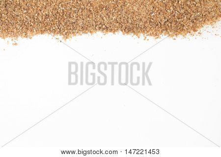 Ground Wheat Frame isolated in white background. Trigo para quibe. Kibbeh