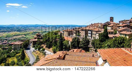 view of Cortona medieval town in Tuscany Italy