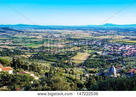 View of Val di Chiana from Cortona in tuscany Italy