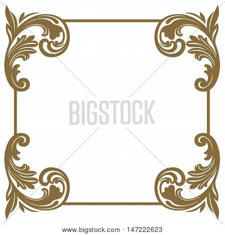 Golden Vintage frame, baroque frame,  scroll frame, ornament frame, engraving frame, border frame, floral frame, retro frame, pattern frame, antique frame, swirl frame,  decorative  frame. vector