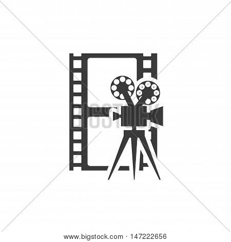 cinematographic camera with cinema icon vector illustration design