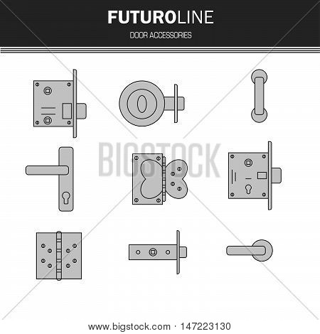 door lock door furniture room door part accessories. futuristic gray line element. vector illustration