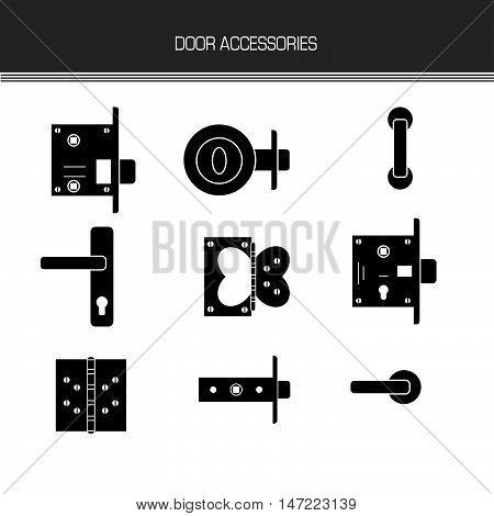 door lock door furniture room door part accessories. futuristic lines black white element. vector illustration