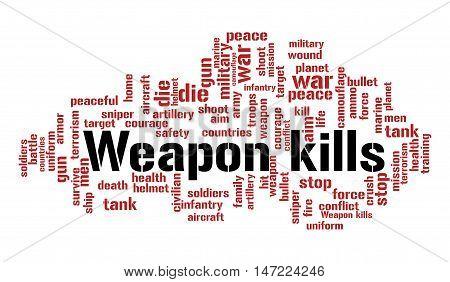 Weapon kills word cloud. Social concept. Vector illustration.