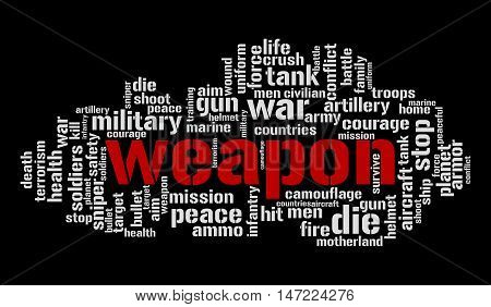 Weapon word cloud. Millitary concept. Vector illustration.