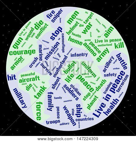 War and peace word cloud in shape of the Earth. Millitary concept. Vector illustration.
