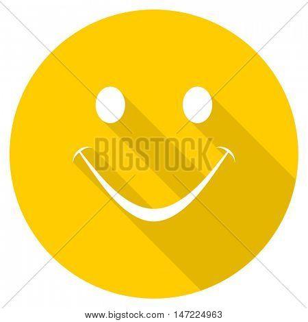 smile flat design yellow round web icon