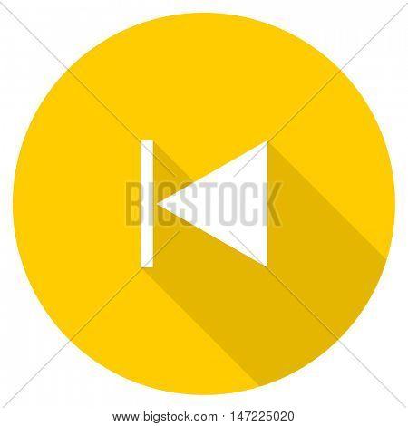 prev flat design yellow round web icon