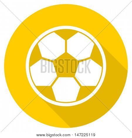 soccer flat design yellow round web icon