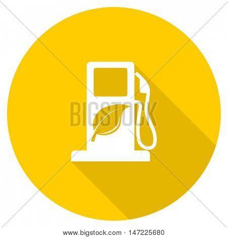 biofuel flat design yellow round web icon