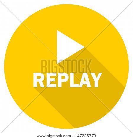 replay flat design yellow round web icon