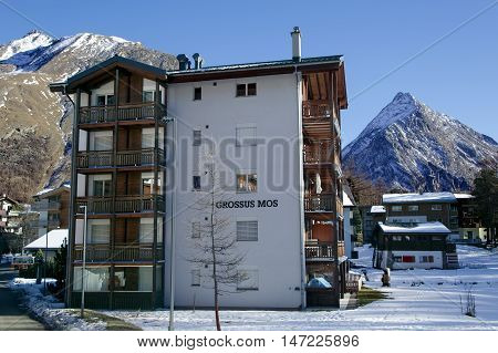 SWITZERLAND, SAAS-FEE, DECEMBER, 26, 2015 - Modern hotel on a bright sunny day in the charming Swiss resort of Saas-Fee, Switzerland