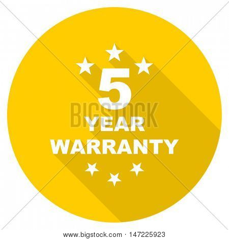 warranty guarantee 5 year flat design yellow round web icon