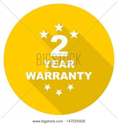 warranty guarantee 2 year flat design yellow round web icon