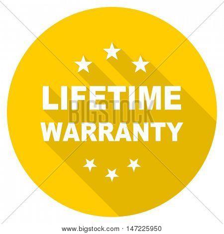 lifetime warranty flat design yellow round web icon