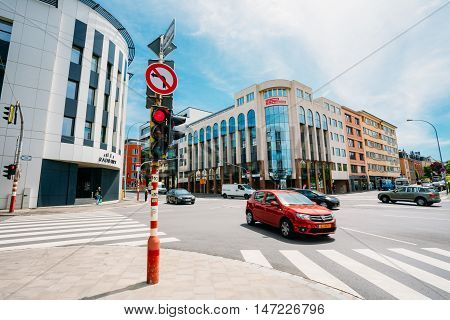 Luxembourg, Luxembourg - June 17, 2015: Traffic at the intersection Route d'Arlon in city