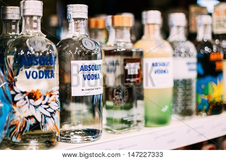 Nerja, Spain - June 20, 2015:  Vodka bottles at the wine store