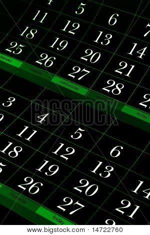 dark green calendar