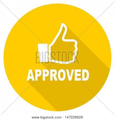 approved flat design yellow round web icon