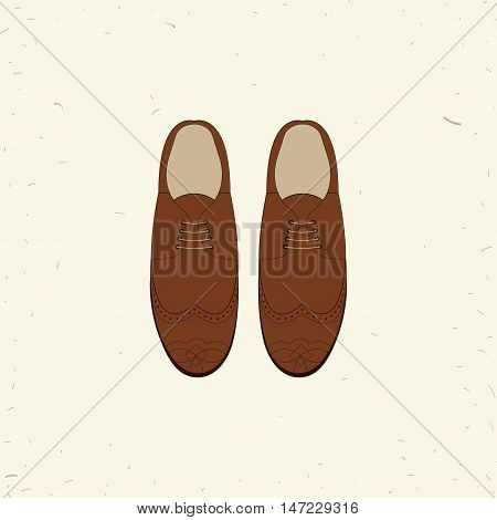 Vector illustration with men fashion shoes. Classic Brown Shoes. Oxfords Men's Shoes