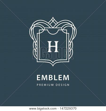 Vector illustration of Monogram design elements graceful template. Elegant line art logo design. Beautiful frame. Emblem letter H for Restaurant Web design Boutique Cafe Hotel Heraldic Jewelry