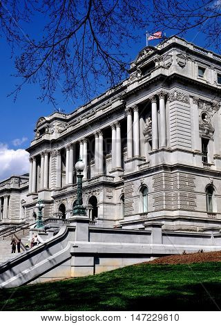 Washington DC - April 9 2014: The 1897 beaux arts Jefferson Building's west front at the Library of Congress