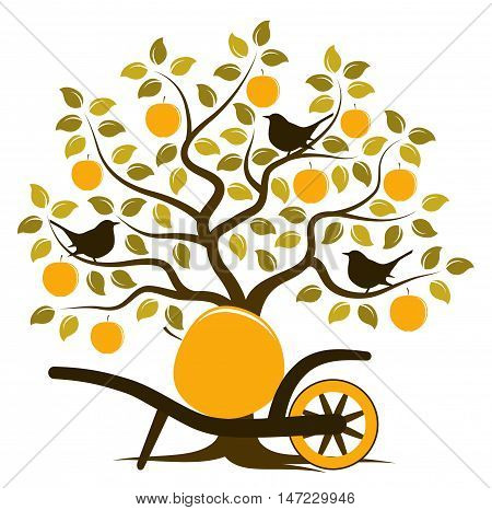 vector apple tree with birds and hand barrow with one big apple isolated on white background