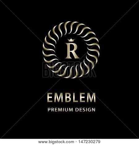 Vector illustration of Monogram design elements graceful template. Elegant line art logo design. Letter emblem R. Retro Vintage Insignia or Logotype. Business sign identity label badge Cafe Hotel
