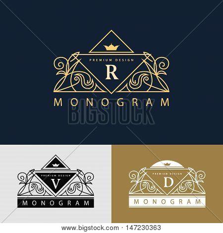 Vector illustration of Monogram design elements graceful template. Elegant line art logo design. Beautiful frame. Emblem letter R. V D for Restaurant Web design Boutique Hotel Heraldic Jewelry