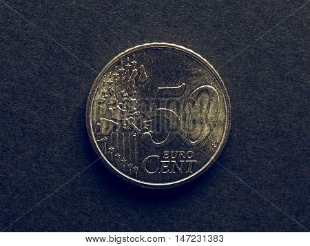 Vintage Fifty Cent Euro Coin