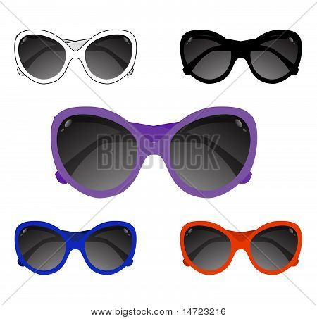 Collection of sun glasses. Vector illustration