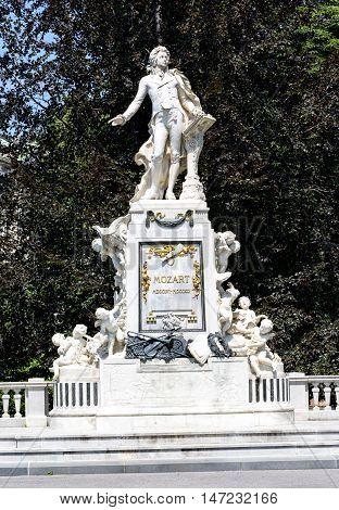 Statue Of Mozart  In  Burggarten Park In  Vienna.