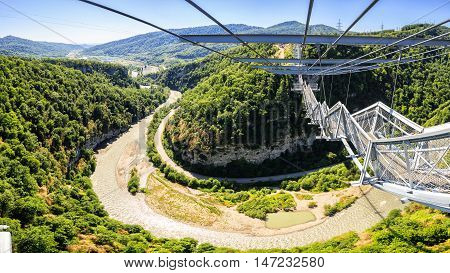 Sochi, Russia - MAY 22, 2016: SKYPARK AJ Hackett Sochi - Adventure Park first in Russia at the height of the founder of bungee jumping AJ Hackett. Joint Russian-New Zealand project c company AJ Hackett International.The park is located in the Sochi Nation