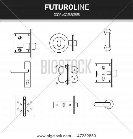 door lock door furniture room door part accessories. futuristic line element. vector illustration